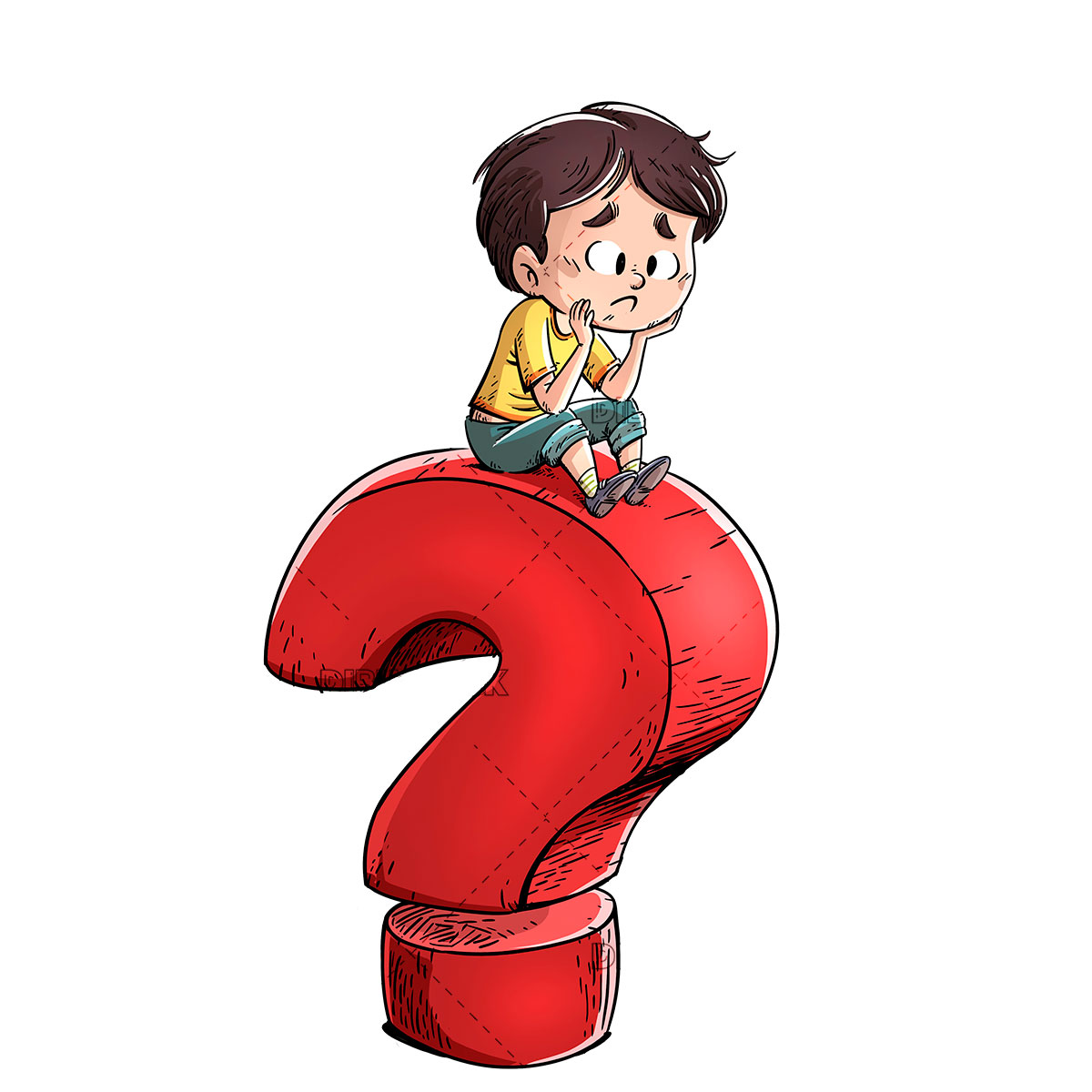 boy with giant question mark