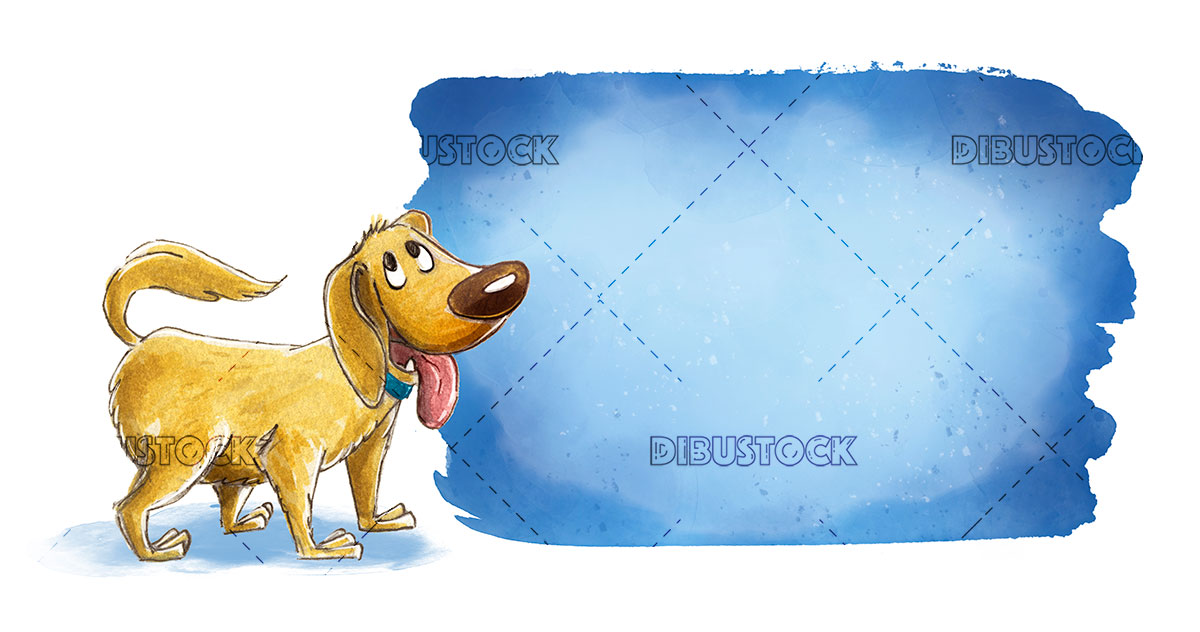 brown dog with blue sign