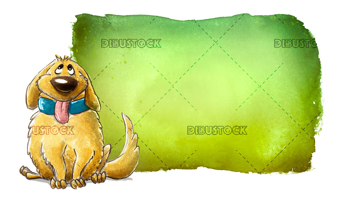brown dog with green sign