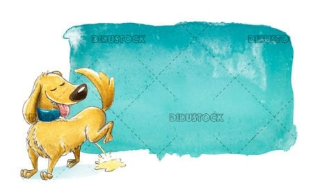 brown dog with turquoise sign
