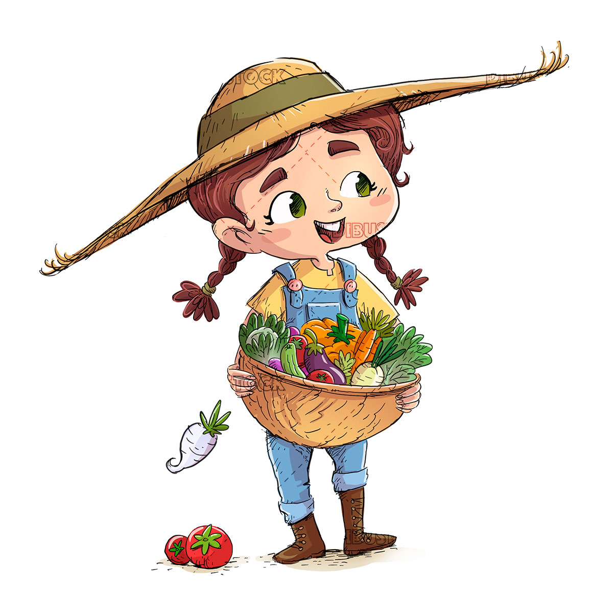 child with basket of vegetables