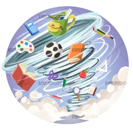 childrens hurricane of school supplies