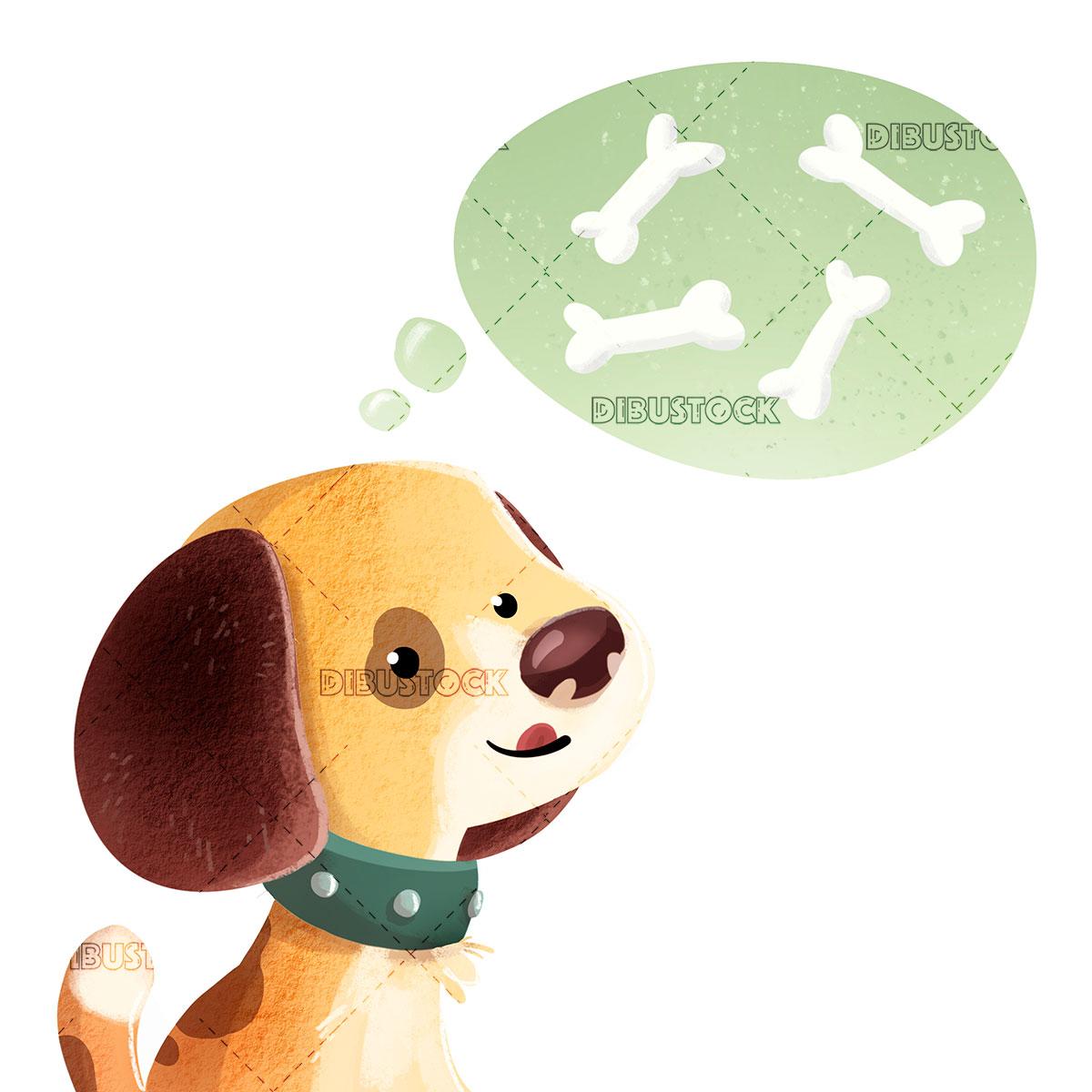 dog thinking of tasty bones
