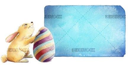 easter bunny egg holding sign