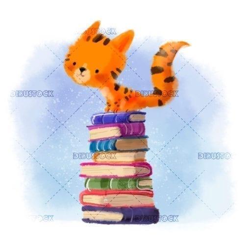 gato subido encima de libros