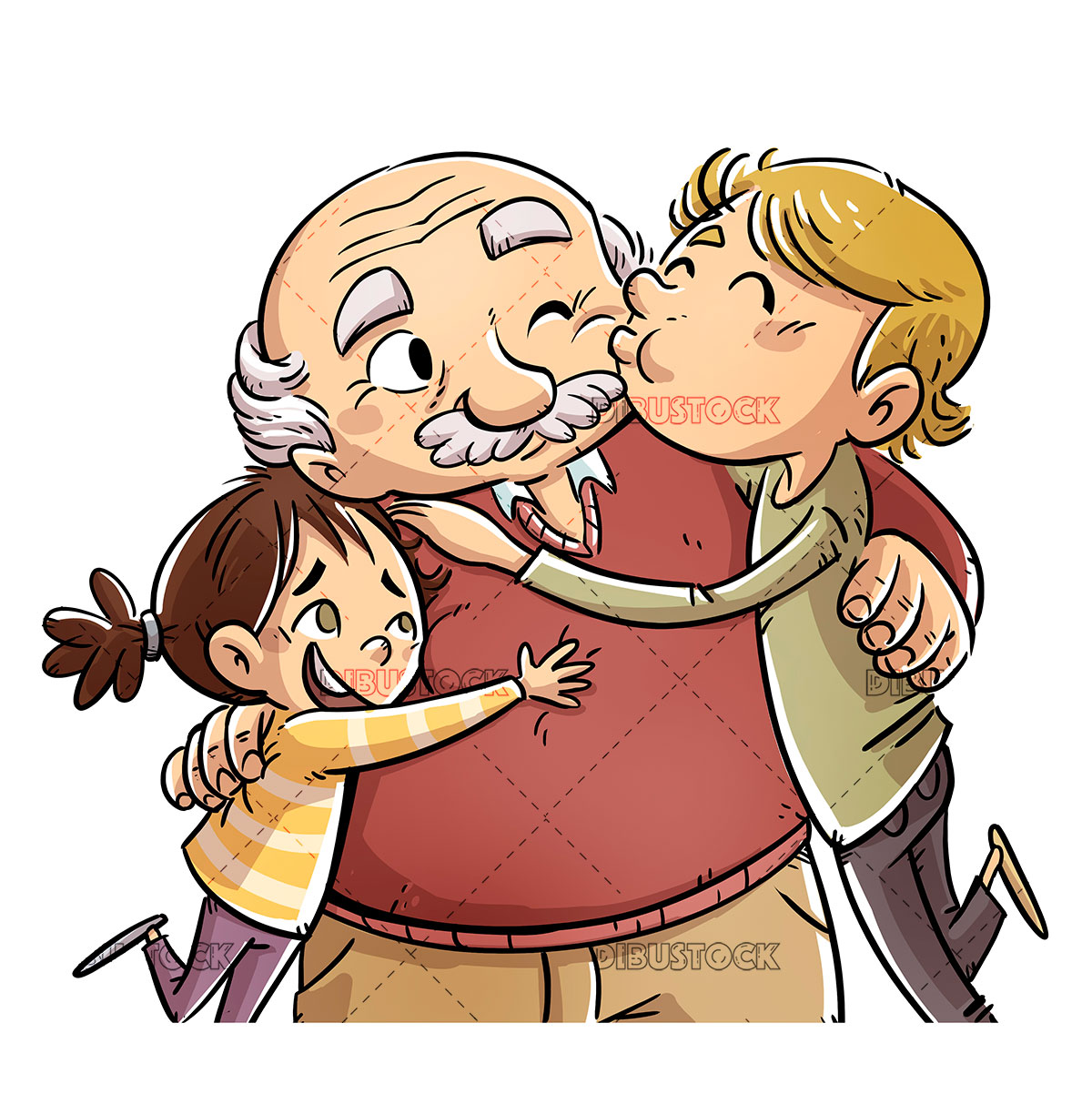 grandfather receiving hugs and kisses from his grandchildren