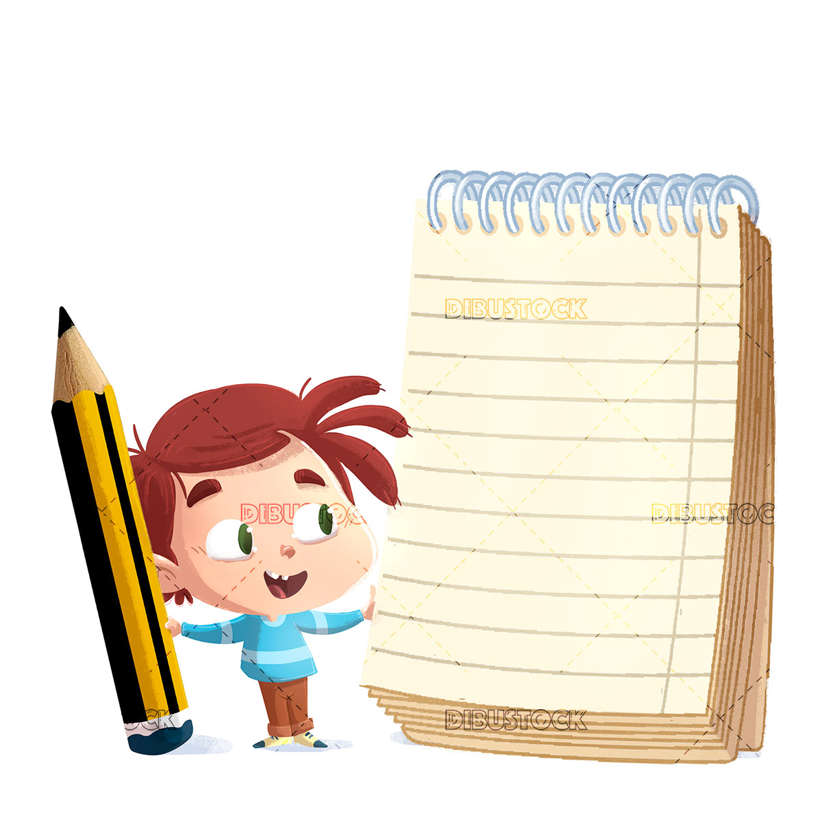 Boy with notebook and giant pencil