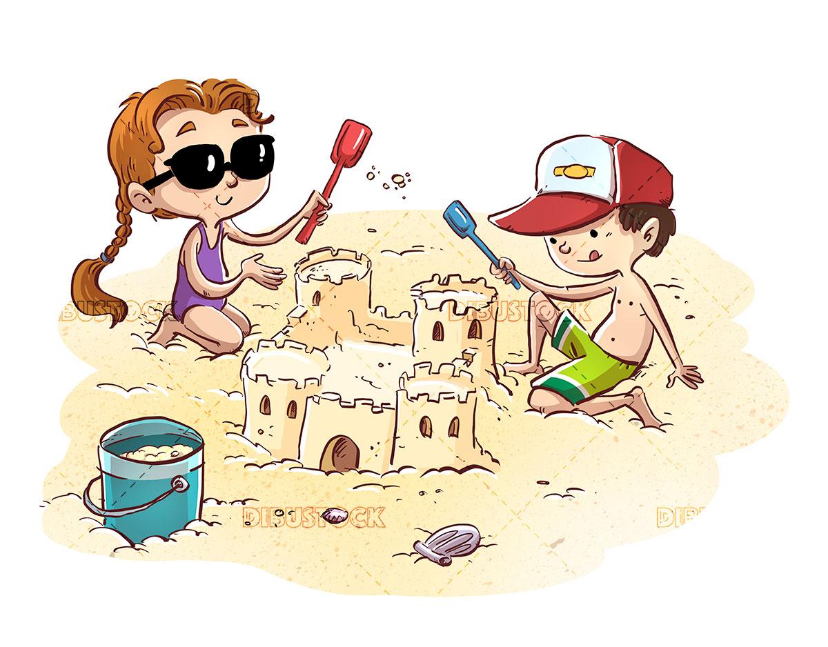 Children making castle on the beach
