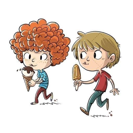 Children walking and eating ice cream
