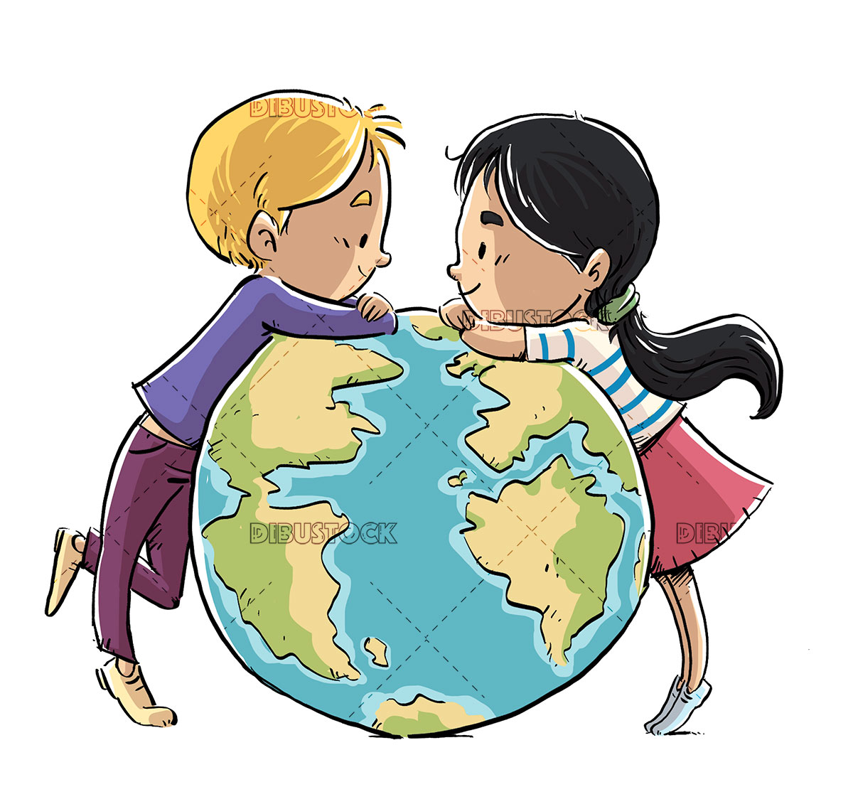 Children with planet earth