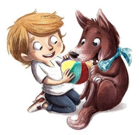 Boy playing ball with dog