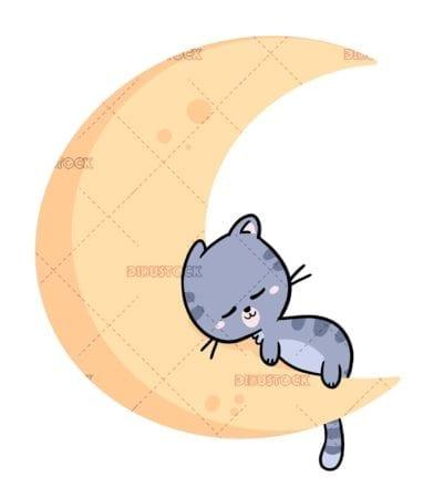 Cat sleeping on the moon