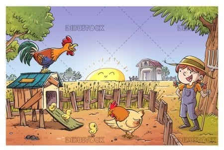 Farmer girl with her chickens