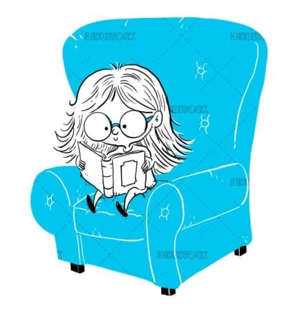 Girl sitting in armchair reading a book