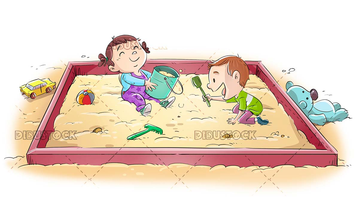 Little children playing park with sand