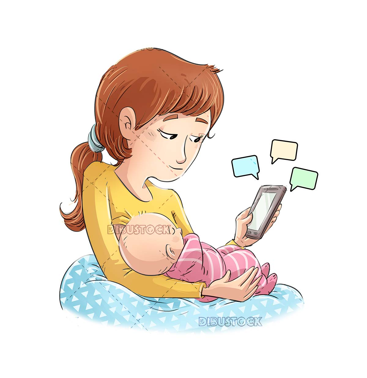 Mother feeding baby with mobile in hand