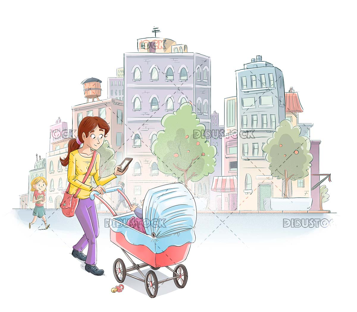 Mother with cart in the city looking at the mobile
