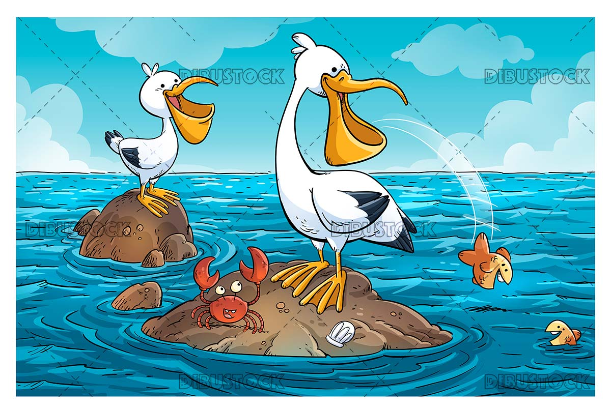 Pelicans family in the sea