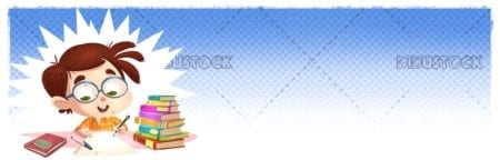Student boy writing with books