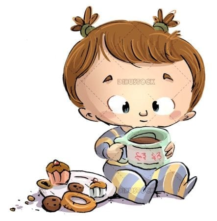 Baby playing with cup of tea