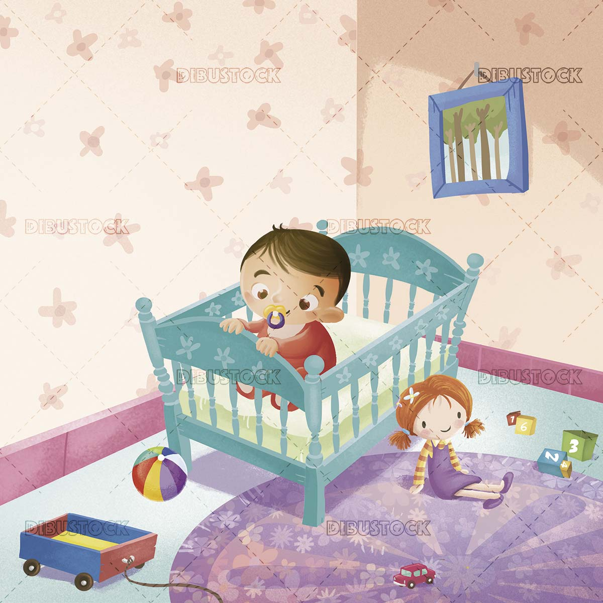 Baby with pacifier in the crib