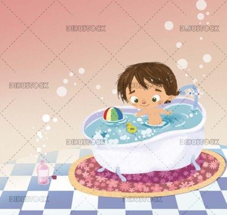 Boy playing in the bathtub