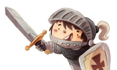 Boy prince knight with sword and armor