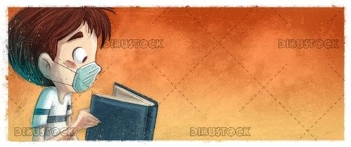 Boy reading a book with mask 1