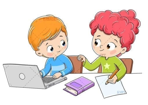 Children doing homework with a computer and a book img thumb