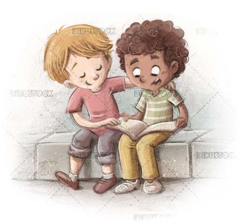Children of different ethnicities reading