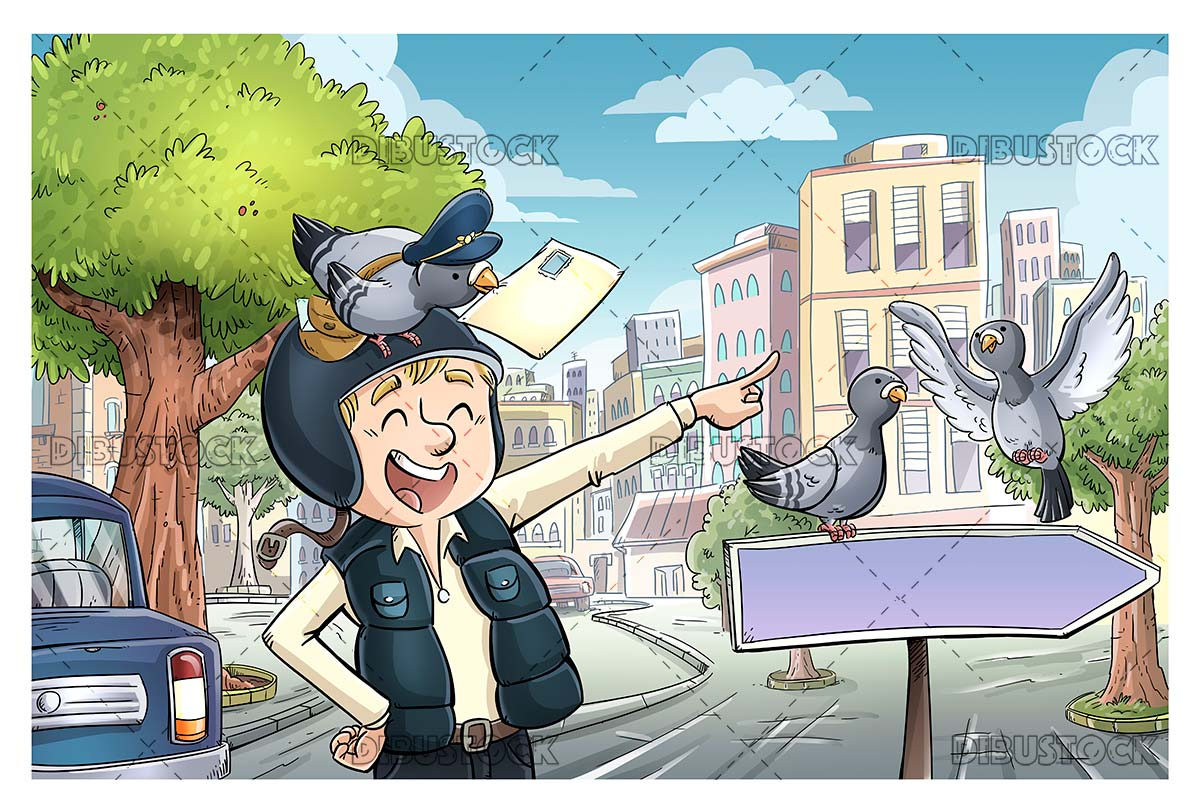 City pigeons with messenger