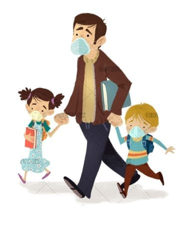 Father with his children on the way to school with masks