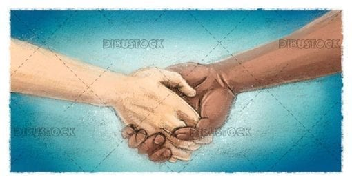 Holding hands of different races 1