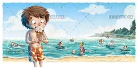 Kid eating ice cream on the beach