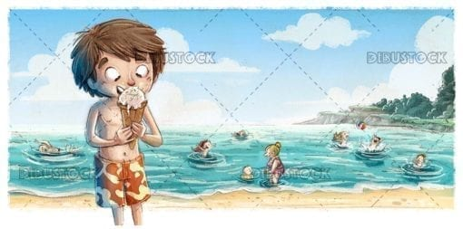 Kid eating ice cream on the beach