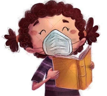 Kid reading a book with mask