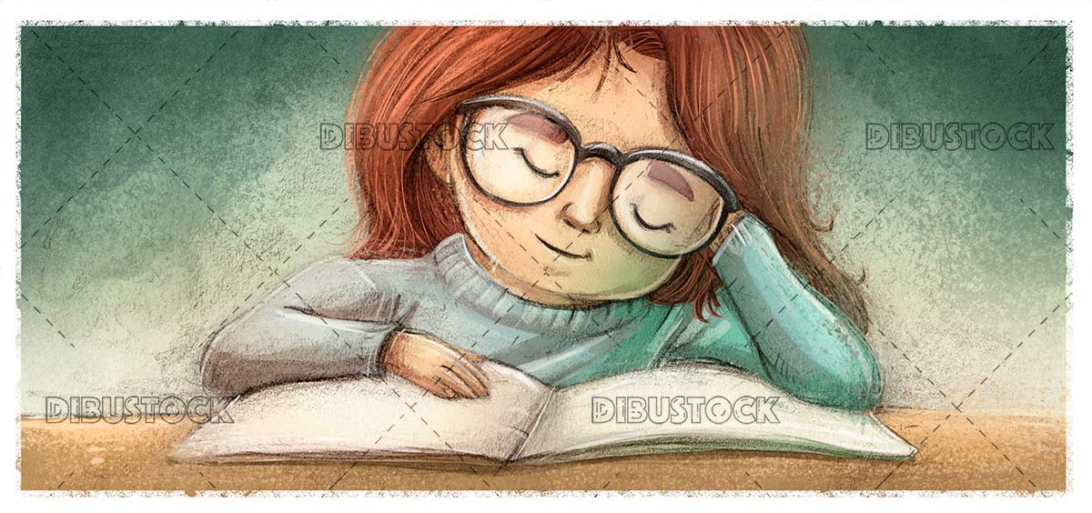 Kid with glasses reading a book