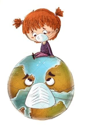 Little girl with planet earth and mask