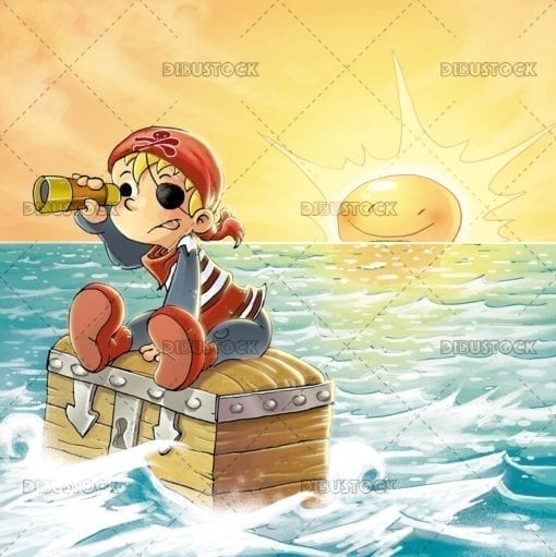 Pirate boy in the sea