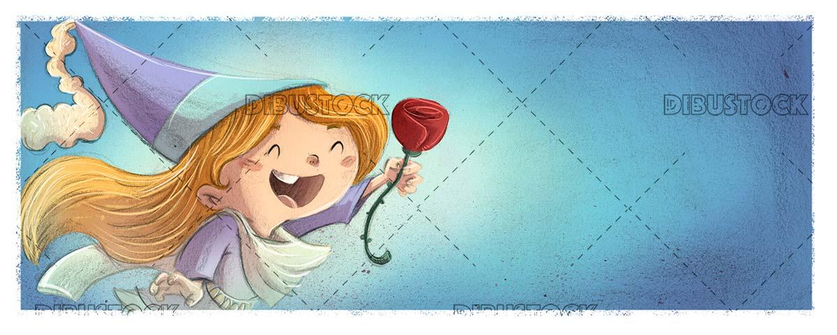 Princess girl with rose