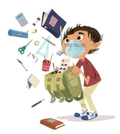Student boy with mask and school supplies