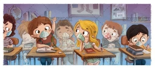 Student children in class with face mask