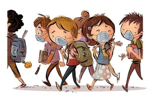 Students going back to school with masks