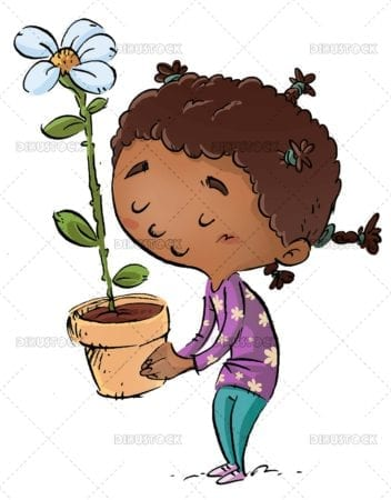 African American girl with flower
