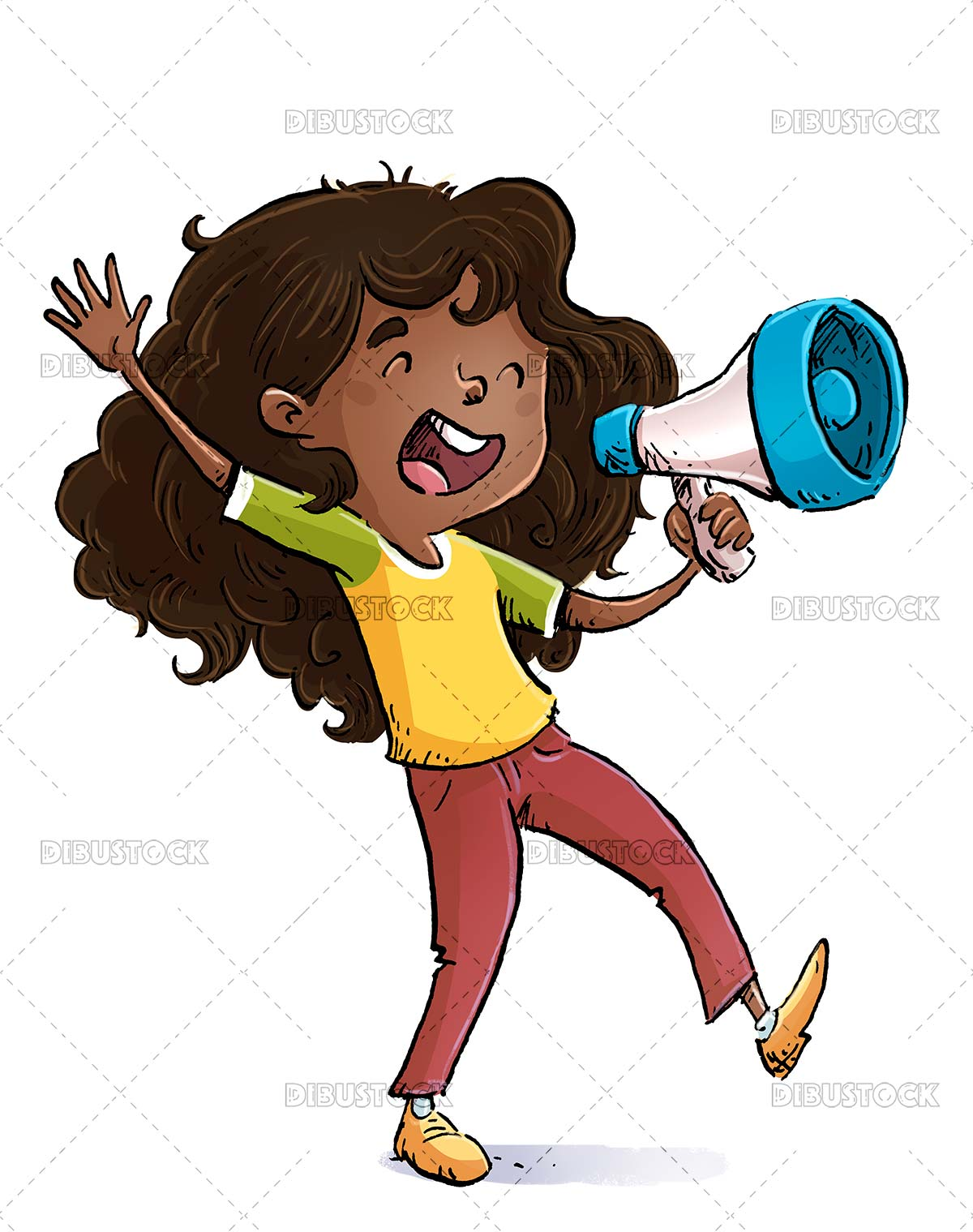 African American girl with megaphone in hand