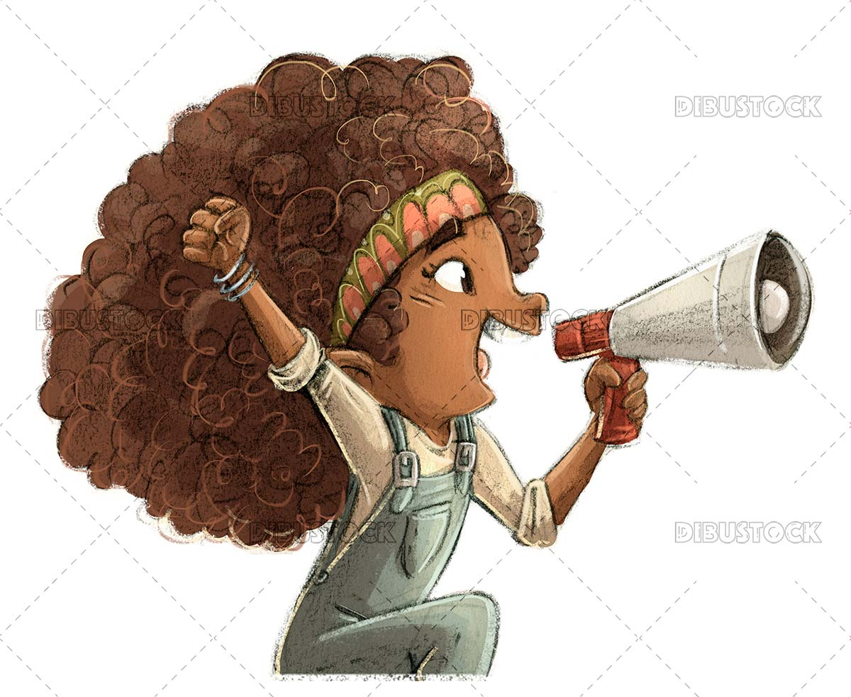 African American girl yelling with megaphone
