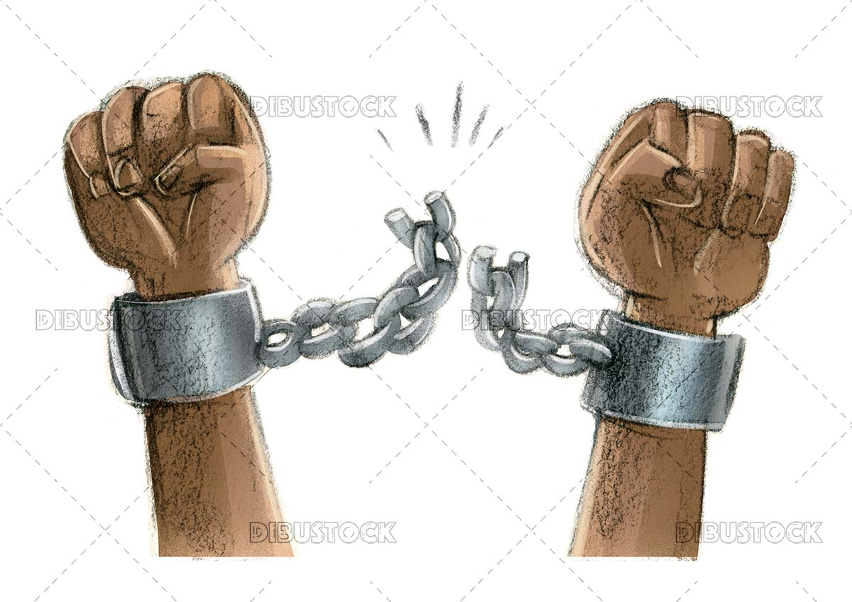 Arms breaking chains