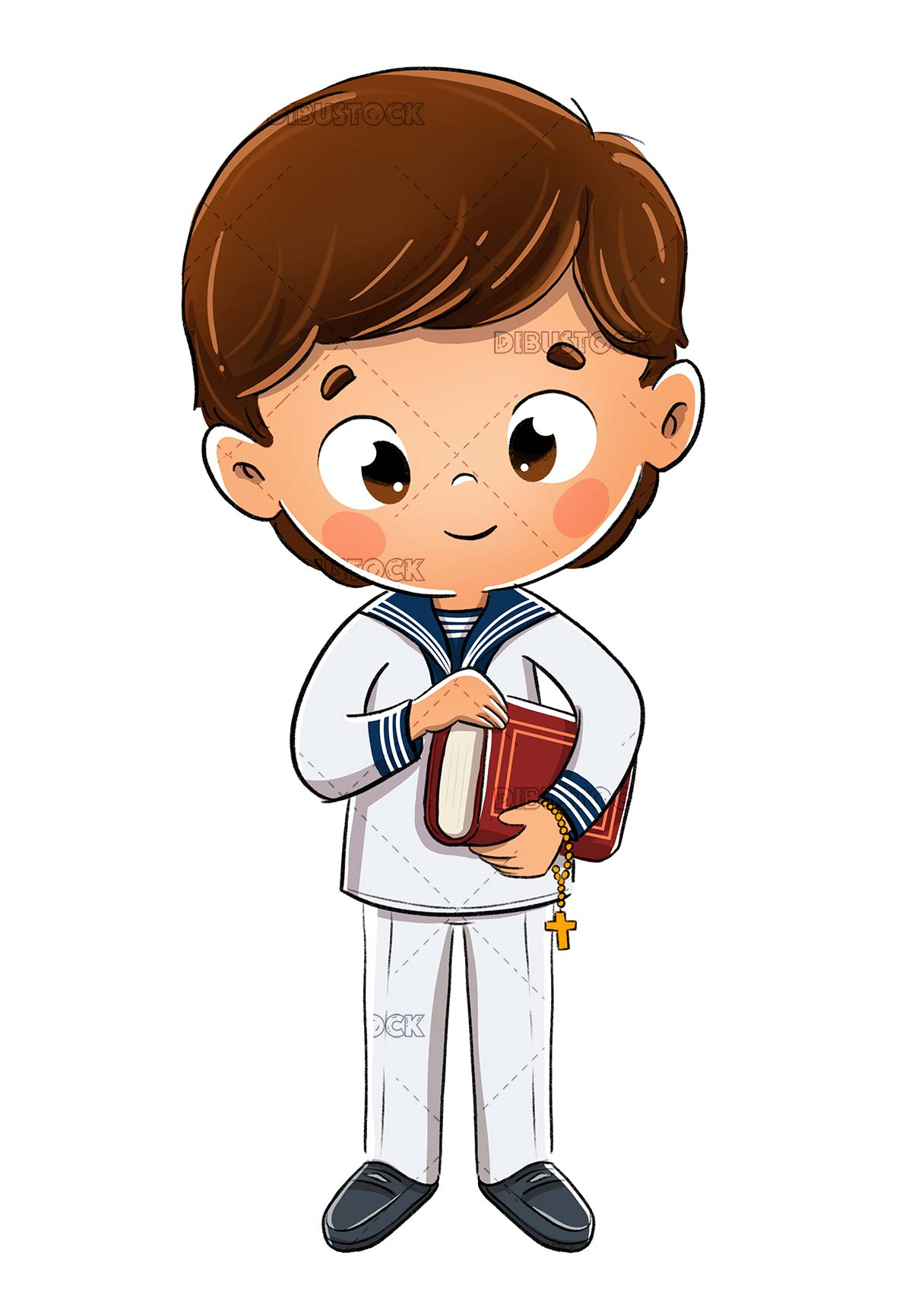 Boy dressed as a sailor making his first communion with a book
