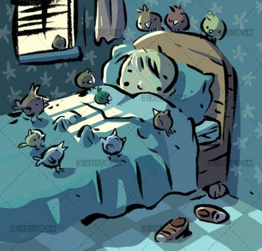 Boy in bed surrounded by birds
