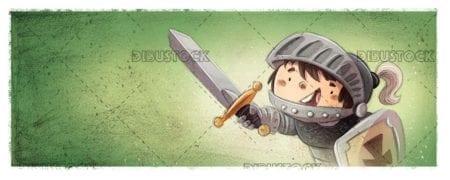 Boy prince knight with armor
